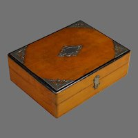 Early 20th C French Satin Wood Dresser Box with Appliques