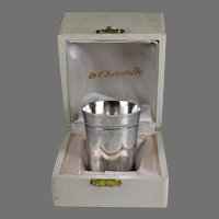 CHRISTOFLE Perles Silver Plated Timbale Wine Cup