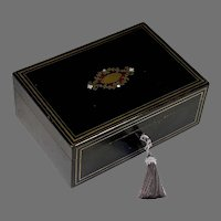 Inlaid Boulle Marquetry Napoleon III Jewelry Box with Blue Velvet Lining