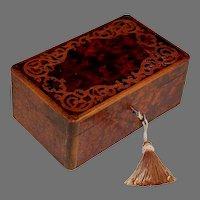 Antique French Charles X Inlaid Burl Wood Dresser Box with Key