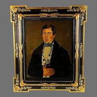 Antique Folk Art Portrait Painting on Panel Dated Fantastic Frame