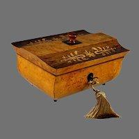 Charles X Inlaid Amboyna Wood Dresser Box, Marquetry Unique Shape and Key, 1839