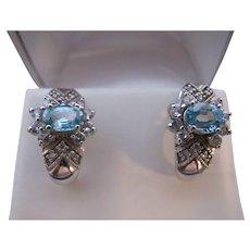Vintage Sterling Silver Aquamarine Glass Earrings Half Hoops nice Bling Bridal Something Blue