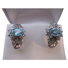 Vintage Sterling Silver Aquamarine Glass Earrings Half Hoops nice Bling Bridal Something Blue