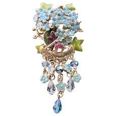 Vintage Rare Kirks Folly Rhinestone Enamel Blue Forget Me Not Flower Pin