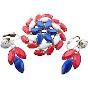 Vintage Red White and Blue Patriotic Rhinestone Pin Earrings Set
