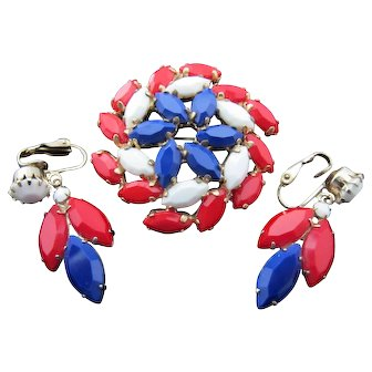 Vintage Red White and Blue Patriotic Rhinestone Pin Earrings Set