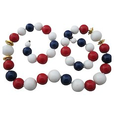 Vintage Miriam Haskell Red White and Blue Patriotic Bead Necklace Signed