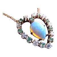 Vintage Opal Diamond Emerald Valentine's ! Heart Necklace in 14K Gold