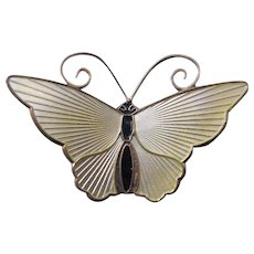 Vintage D A David Andersen Mid Century Pale Yellow Enamel on Sterling Butterfly Pin