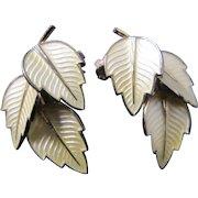 Vintage Denmark Jemax Sterling Enamel Yellow Leaf Clip Earrings Mid Century Modern