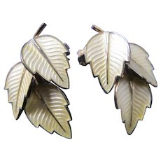 Vintage Denmark Jemax Sterling Enamel Yellow Leaf Clip Earrings Mid Century Modern
