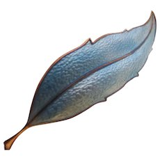 Vintage Norway Sterling Sky Blue Enamel on Sterling Leaf Pin Mid Century Scandinavian Design