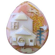 Vintage Lucinda House Pin Easter Egg Flying Bunny Rabbit