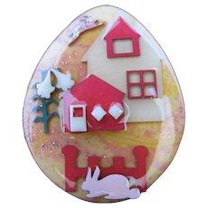 Vintage Lucinda Easter Egg House Pin Flying Rabbit