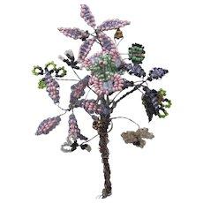 Vintage Flower Floral Spray Bead Work Nosegay or Corsage Suffragette Colors Purple Green