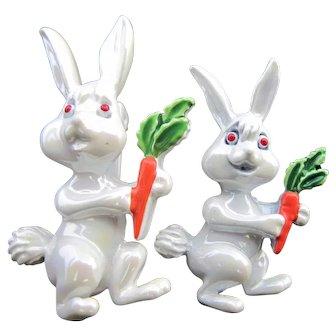 Vintage Pair Enamel Rabbit Pins with Carrots