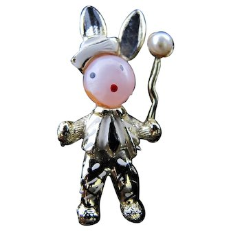 Tiny Charming Rabbit in Suit with Balloon Pin