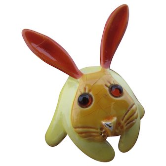 Vintage Signed ART Enamel Rabbit Pin
