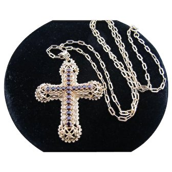Vintage 1980 Limited Edition Sarah Coventry Cov Garnet Rhinestone Cross Necklace on Long Chain