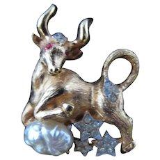 Vintage Rhinestone Pim Pin Taurus Bull Astrology Astronomy Stock Market