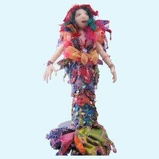 Vintage Hand Beaded Mermaid Doll approx 14 inches tall