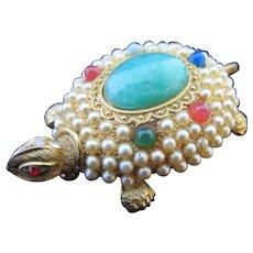 Vintage Elaborate Rhinestone Turtle Pin Unsigned