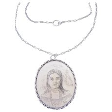 Vintage Portrait Pendant Necklace in Sterling Silver Frame on Fine Sterling Silver Chain