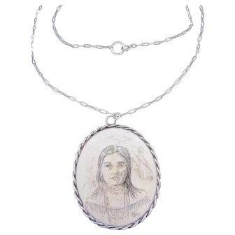 Vintage Portrait Pendant Necklace in Sterling Silver Frame on Fine Sterling Silver Chain
