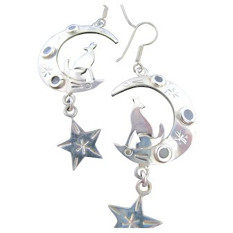Vintage Mexico Sterling Silver 925 Long Dangle Earrings Crescent Moon Coyote Star Tribal Ethnic