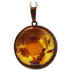 Vintage Amber Guild Gold Filled Pendant on Gold Filled Chain Necklace