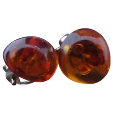 Vintage Amber 925 Sterling Silver Clip Earrings