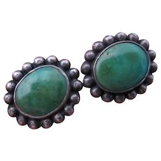 Vintage Turquoise Sterling Silver Screw Back Earrings