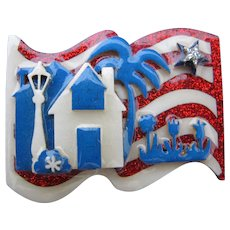 Vintage Lucinda House Flag Pin Fourth of July Pin Patriotic Red White and Blue