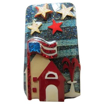 Vintage Lucinda House Pin Fourth of July Pin Patriotic Red White and Blue