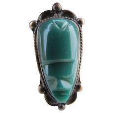 Vintage Sterling Silver Green Stone Carved Face Ring