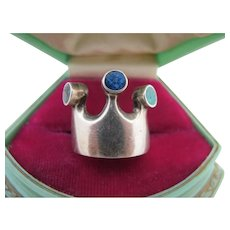 Vintage Heavy Mexico Sterling Silver Crown Ring