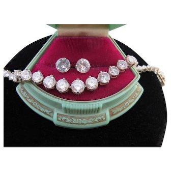 Vintage Sterling Silver Tennis Bracelet and CZ Earrings