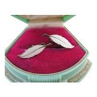 Vintage Sterling Silver Enamel Feather Screwback Earrings White Mid Century Danish or Norwegian Modern