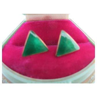 Vintage Sterling Silver Enamel Green Triangle Pierced Earrings Opro Danish Mid Century Modern