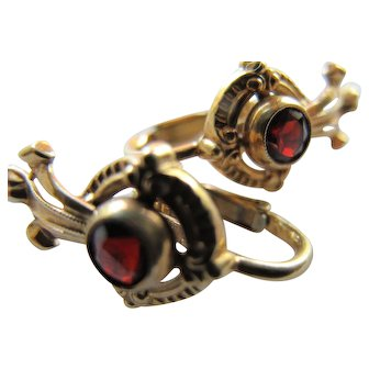 Exquisite Vintage Balogh's 14K Yellow Gold and Garnet Retro Clip Earrings
