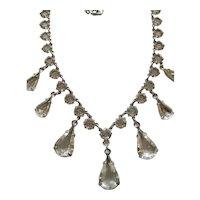 Vintage White Gold Filled Open Back Crystal / Glass Necklace
