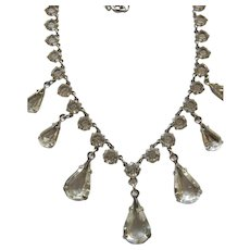 Vintage White Gold Filled Open Back Crystal / Glass Necklace