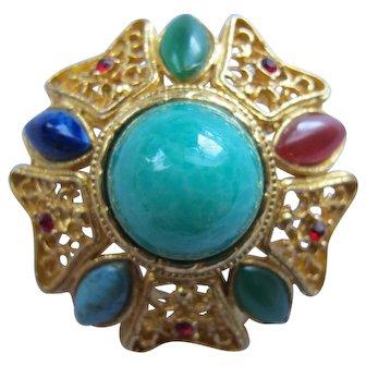 Vintage Large Rhinestone Pin Mogul / Moghul or Jewels of India Style Like a Christmas Ornament!