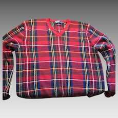 Vintage 90s Tartan Plaid Christmas Red Green Not Ugly Mens Sweater