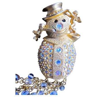 Vintage Kirks Folly Snow Man Snowman Pin with Snow Crystal Rhinestone Dangles