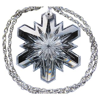 Vintage Gorham Crystal Snow Flake Snowflake Necklace