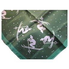 Vintage Mid Century Modern Green Scarf with Skiers and Snow Ski