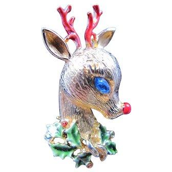 Vintage Signed ART Art Rudolf Reindeer Christmas non Tree Pin