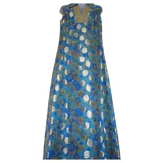 Vintage Asian / Thai Style Dress Shimmery Turquoise Blue and Gold Great for Holidays!